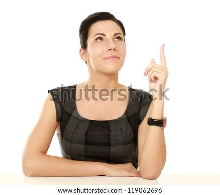 figyelmes · fiatal · nő · ül · egyedül · asztal · portré - stock fotó © deandrobot