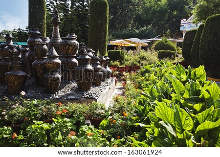 decorative urns in a park peace park mount abu sirohi distric stock photo © imagedb