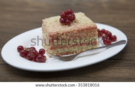 Fresh delicious diet cake with berry red currant at Dukan Diet on a porcelain plate with a spoon on  Stock photo © mcherevan