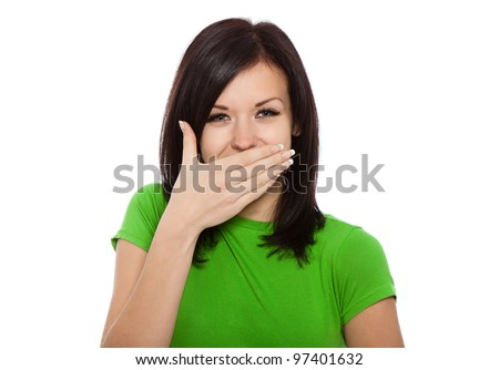 Portrait of pretty young girl smiling with closed mouth sitting  Stock photo © bubutu