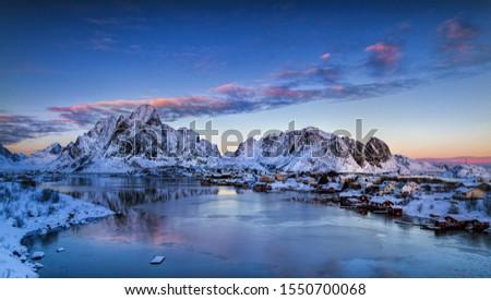 krajobraz · Norwegia · śniegu · lodowaty · jezioro · drzew - zdjęcia stock © meinzahn