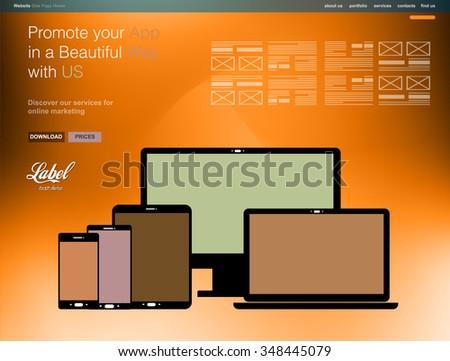 Een pagina moderne website sjabloon app Stockfoto © DavidArts