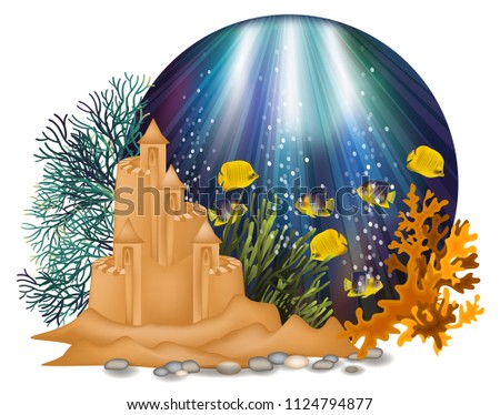Underwater wallpaper with tropical fish and sand castle, vector illustration Stock photo © carodi