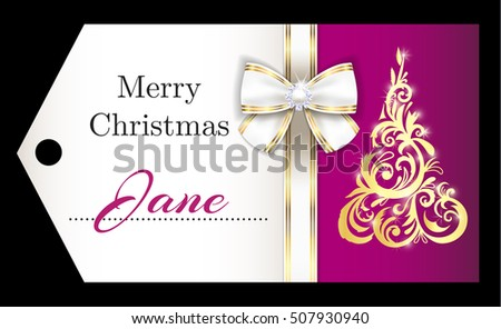 Luxury purple Christmas name tag with golden ornament Christmas tree and white ribbon Stock photo © liliwhite