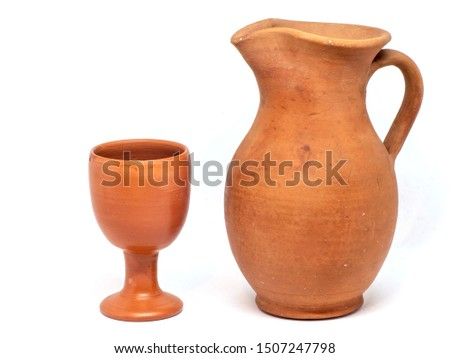 wine glasses, a wine bottle and amphora isolated on white backgr Stock photo © alinamd