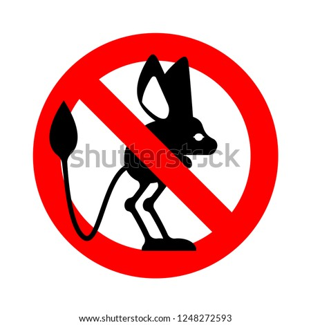 Stop Jerboa. ban Steppe animal is forbidden. Red prohibitory roa Stock photo © popaukropa