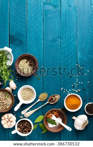 Stock photo: Rosemary, garlic, salt and white pepper, culinary background with various spices, directly above, fl