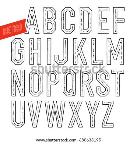 Handmade retro font. Blak letters on white background. Sans seri Stock photo © pashabo