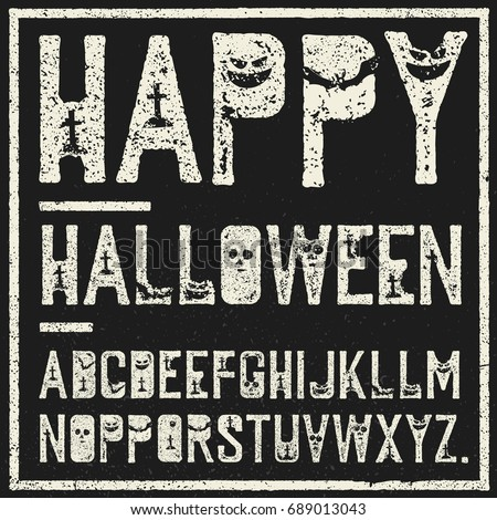 happy halloween decorative alphabet grunge stamp letters with s stock photo © pashabo