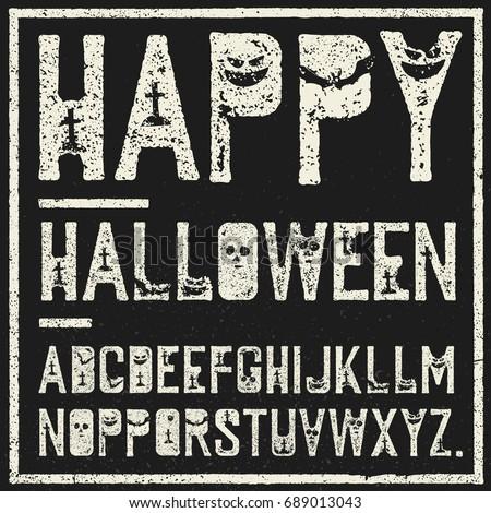 Happy Halloween decorative alphabet. Grunge stamp letters with s Stock photo © pashabo