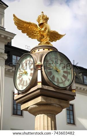 Central plano relógio coroa trem estação de trem Foto stock © vladacanon