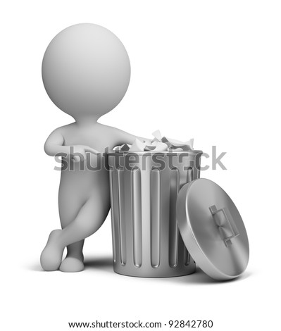 man into garbage basket on white background. Isolated 3D illustr Stock photo © ISerg