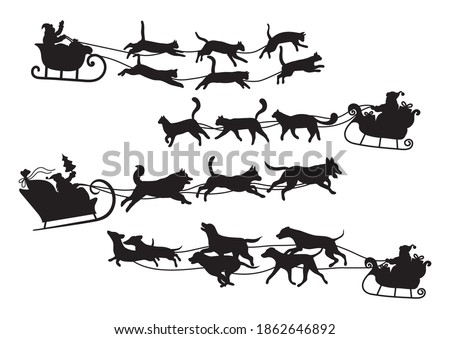 Stock photo: Santa riding dog sled ride. Black silhouette of dogs with horns of deer