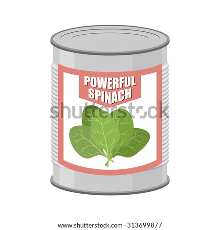 Powerful spinach. Canned spinach. Canning pot with lettuce leave Stock photo © popaukropa