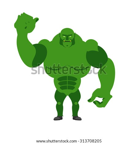 Angry Green Monster. Scary Goblin big and strong on a white back Stock photo © popaukropa