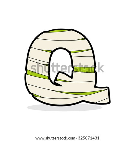 Letter Q Monster zombie. Alphabetical icon medical bandages. Egy Stock photo © popaukropa