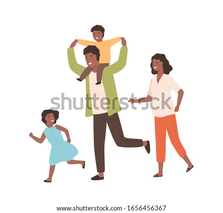 father playing with son   cartoon people characters illustration stock photo © decorwithme