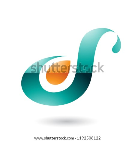 Persian Green Glossy Curvy Fun Letter D or S Vector Illustration Stock photo © cidepix