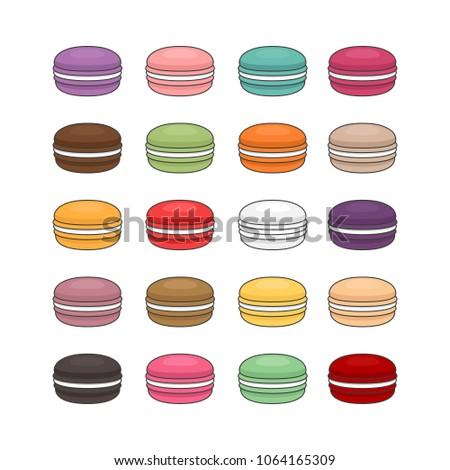 pink dessert cake macaron or macaroon with raspberry and mint leaf on stone kitchen background stock photo © denismart