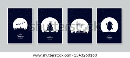 karácsonyi · üdvözlet · kalligrafikus · mező · üdvözlet · fa · boldog - stock fotó © SwillSkill
