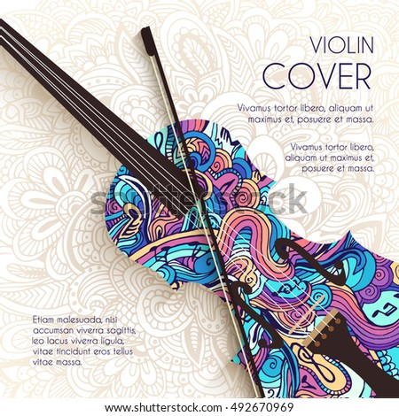 Hand drawn art abstract violin background of the ornament. Vector illustration concept stock photo © Linetale