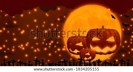 happy halloween banner with scary grave and laughing ghost face Stock photo © SArts