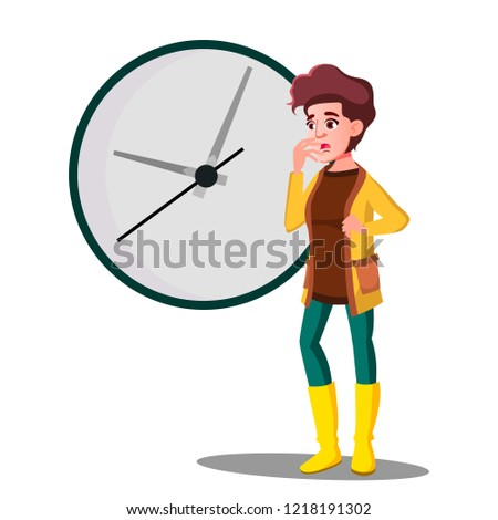 Late, Girl Fright Looking At The Clock Vector. Isolated Illustration Stock photo © pikepicture