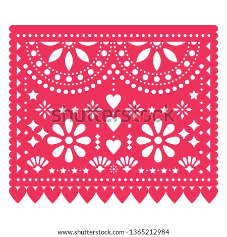 Mexican Papel Picado vector design, pink retro paper fiesta decoration from Mexico with skull, flowe Stock photo © RedKoala