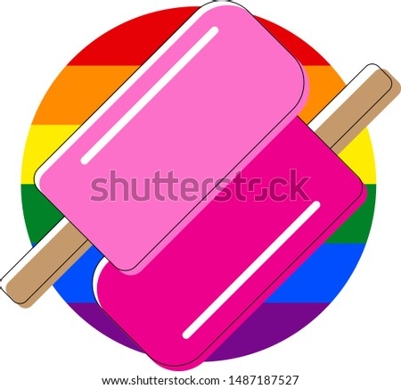 T-shirt for two gays. Clothes for lovers. Rainbow color of LGBT Stock photo © MaryValery