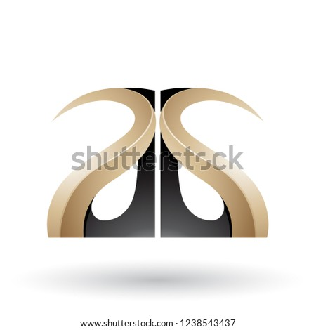 Black and Beige Glossy Curvy Embossed Letter A Vector Illustrati Stock photo © cidepix