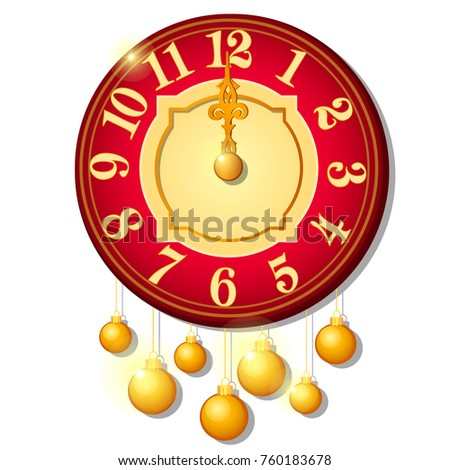 Vintage wall clock decorated with golden balls isolated on white background. Sample of Christmas and Stock photo © Lady-Luck