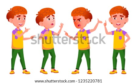 Little Boy Poses Set Vector. Primary School Child. Red Head. Emotions. For Postcard, Cover, Placard  Stock photo © pikepicture