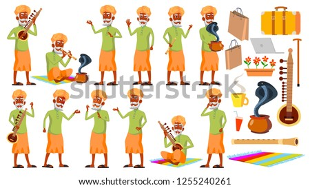 Indian Old Man Poses Set Vector. Hindu. Asian. Elderly People. Senior Person. Aged. Snake Cobra Danc Stock photo © pikepicture