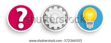 Question Mark, Gears, Light Bulb Concept - Frequently asked ques Stock photo © Zerbor
