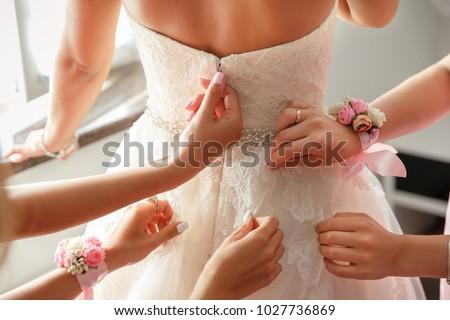 Esküvő segítség kezek menyasszonyi ruha boldog Stock fotó © ruslanshramko