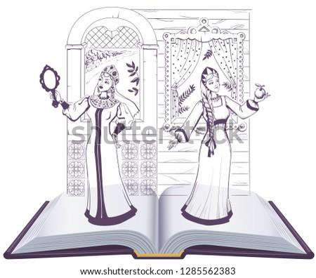 pushkin fairy tale of dead princess and seven knights open book stock photo © orensila