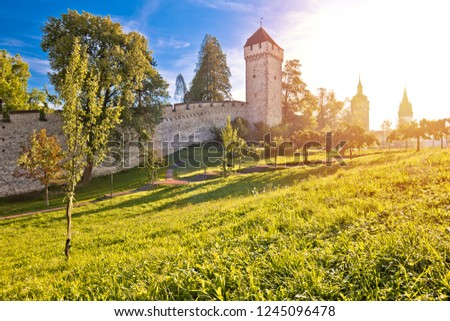 City of Luzern defense walls and historic towers sun haze view stock photo © xbrchx