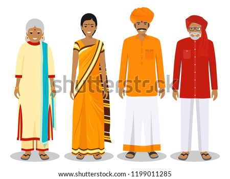 Indian Generation Female Set Vector. Grandmother, Mother, Daughter, Granddaughter, Baby. Vector. Iso Stock photo © pikepicture