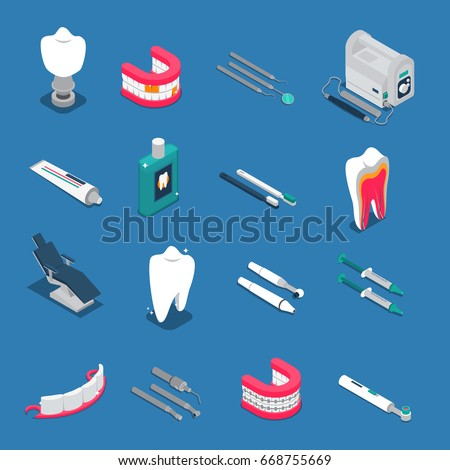 Stomatology color isometric concept icons Stock photo © netkov1