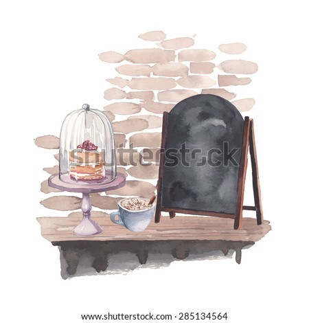 kézzel · rajzolt · vízfesték · kávézó · belső · téglafal · kávéház - stock fotó © bonnie_cocos