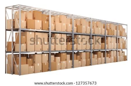 vektor · dobozok · polc · szett · részletes · izometrikus - stock fotó © lady-luck