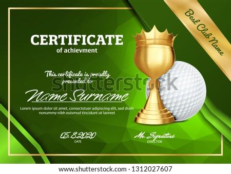 Golf certificato diploma Cup vettore Foto d'archivio © pikepicture