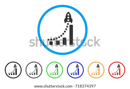 Sales Bar Chart vector icon. circled symbol, blue and green colors, business financial success conce Stock photo © kyryloff