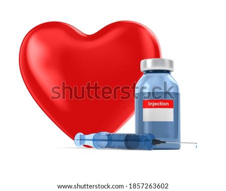 Stock photo: medical syringe and heart on white background. Isolated 3D illus