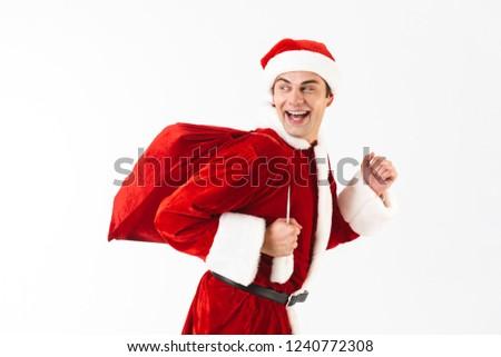 Portret radosny człowiek 30s Święty mikołaj kostium Zdjęcia stock © deandrobot