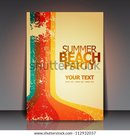 vector summer beach party flyer design with 3d typography letter on underwater blue ocean background stock photo © articular