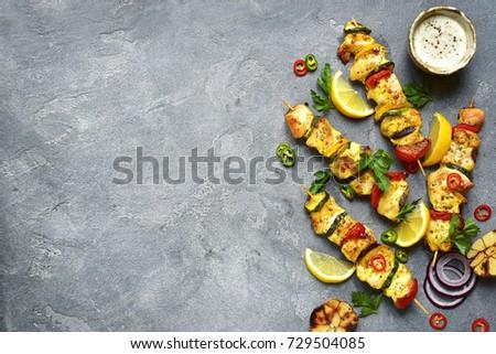 Grillés porc poulet kebab paprika pierre Photo stock © DenisMArt