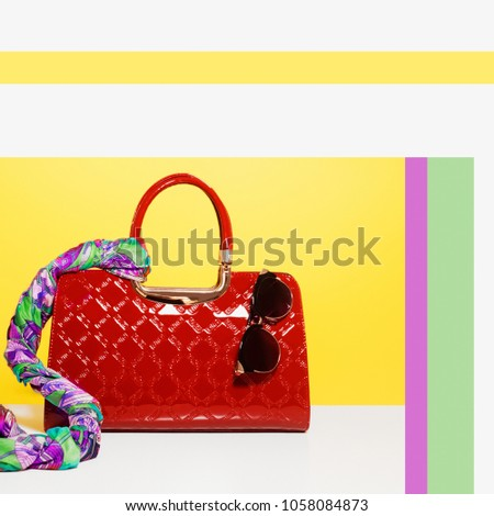 Minimalist fashion and beauty photo. Love to shopping. Satisfaction from buying new fashionable acce Stock photo © serdechny
