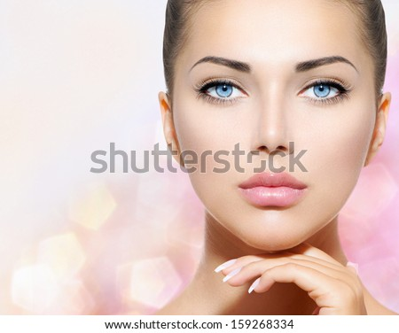 Spa woman. Natural beauty face. Beautiful girl touching her face Stock photo © serdechny