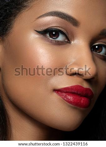 Close-up shot of woman lips with red lipstick. Beautiful perfect lips. Sexy mouth close up. Beautifu Stock photo © serdechny
